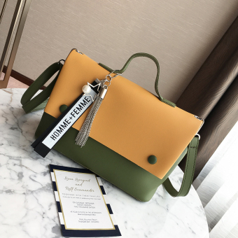 Ulzzang Korean version of female New style contrasting color handbag bag (Yellow)