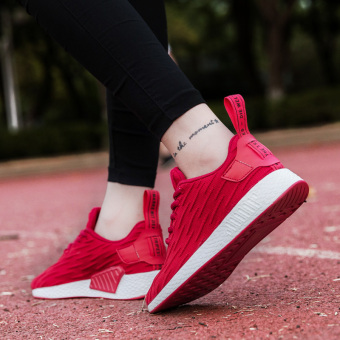 Ulzzang Korean version of female New style wind casual shoes athletic shoes (Red)
