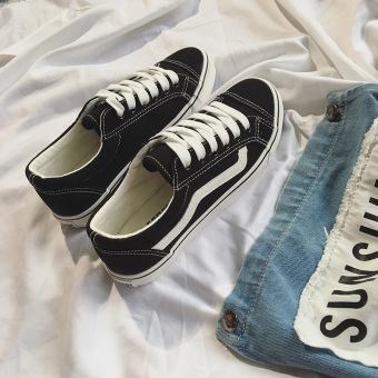 Ulzzang Korean version of student flat style shoes canvas shoes (Black)