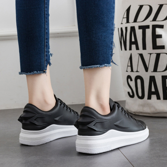 Ulzzang Korean version Plus velvet women's shoes sports shoes (Black)
