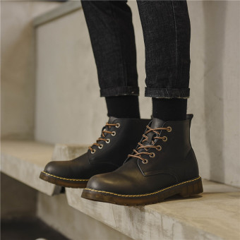 Ulzzang men's autumn New style hight-top trendy shoes (Black)