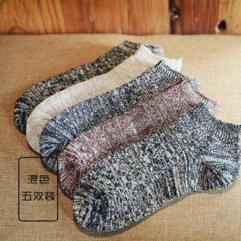 Ulzzang national style yarn men's low top socks short socks (Mixed color 5 double loaded)