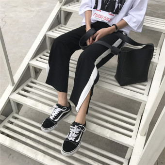Ulzzang retro style student casual pants ankle-length pants (Black) (Black)