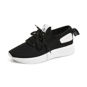 Ulzzang versatile autumn New Style Stylish Rubber shoes Sneakers (Black)