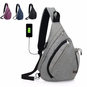 Unisex Fashion External USB Charge messenger bag Anti-theft crossbody Canvas Travel Pad Backpack Notebook Travel Rucksack ShoulderBag man woman (black) - intl