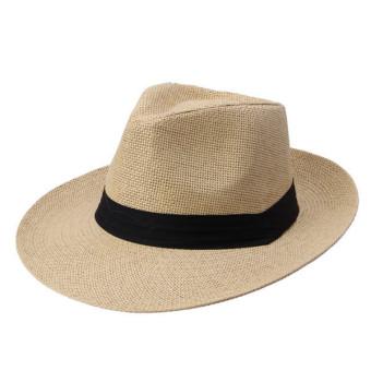 Unisex Fedora Trilby Large Brim Beach Straw Hats Beige (turn up) - picture 2