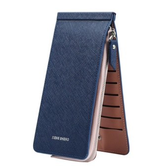 Unisex Portable Long PU Leather Wallet Money Change Credit Cards Zipper Storage Bag Holder Organizer Purse Blue - intl