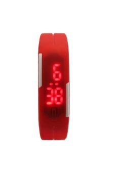 Unisex Red Rubber Bracelet LED Digital Wrist Watch UDRB-1