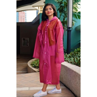 Unisex Waterproof PVC Raincoat Rain Coat Hooded (Pink)
