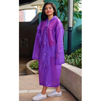 Unisex Waterproof PVC Raincoat Rain Coat Hooded (Violet)