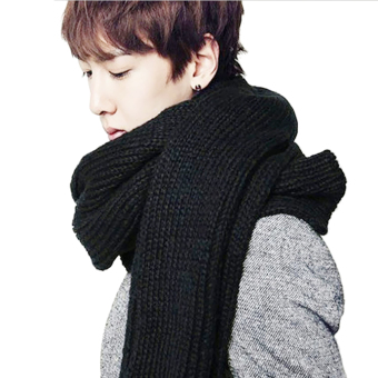 Unisex Women Men Pure Color Winter Warm Thick Soft Knitted LongScarf Shawls Wrap Black - intl