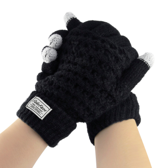 Unisex Wool Knit Magic Touch Screen Texting Gloves Warmer Mittens Outdoor Cycling Warm Winter Gloves for All Touchscreen Devices Smartphone & Tablet iPhone iPad Birthday/Christmas gift for Women Men Black - intl