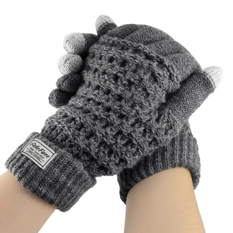 Unisex Wool Knit Magic Touch Screen Texting Gloves Warmer Mittens Outdoor Cycling Warm Winter Gloves for All Touchscreen Devices Smartphone & Tablet iPhone iPad Birthday/Christmas gift for Women Men Grey - intl