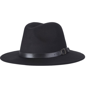 Unisex Woolen Autumn and Winter Fedora Hat with Adjustable LeatherBelt(Black)