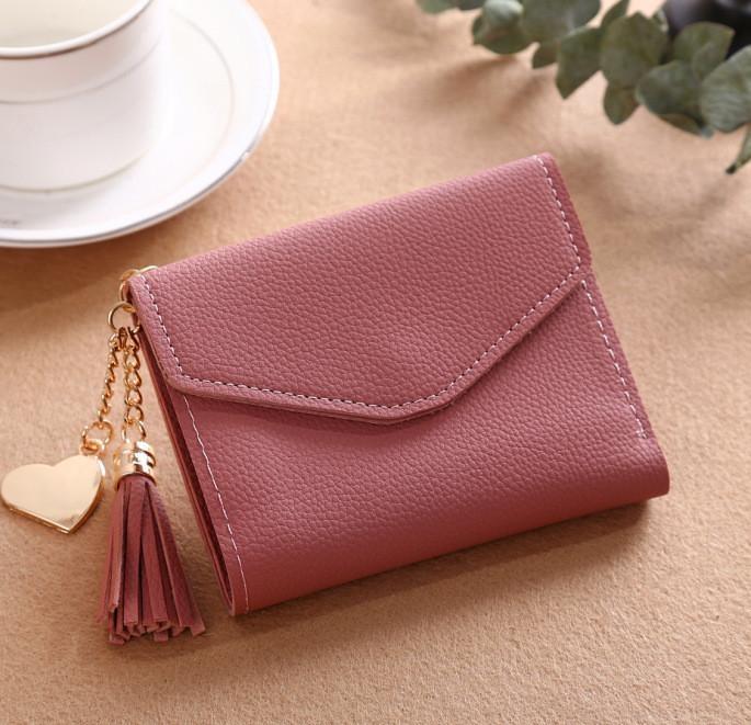 uniwood Fashion Ladies Purse Tassel Pendant Litchi Pattern Money Wallet Card Purse Wallet-dark pink
