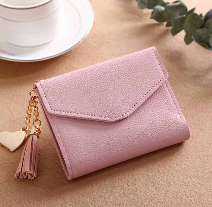 ... uniwood Fashion Ladies Purse Tassel Pendant Litchi Pattern MoneyWallet Card Purse Wallet-Light powder ...