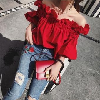 UR One word shoulder shirt coat dress Red - intl - 3