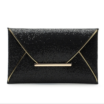 US Women Sequins Evening Party Glitter Envelope Bag Purse Clutch Handbag Satchel Black