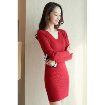 V-Neck Longsleeve Bodycon Ribbed Dress (Red) Casual Dress PartyDress Formal Dress - 4