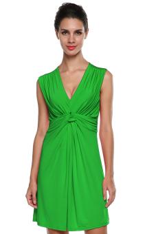 V Neck Mini Dress (Green)