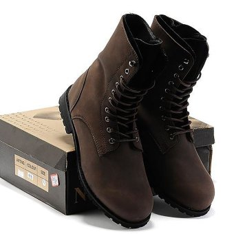 Vanker Fashionable Winter Men's Retro Punk England-style High-topCombat Boots Shoes(Brown)
