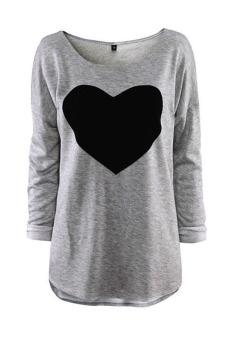 Velishy Heart Design Long Sleeve Blouse (Grey)