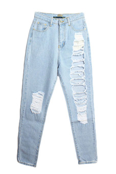Velishy High Waist Denim Pants (Blue)