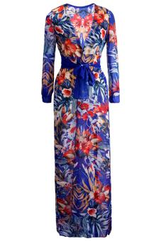 Velishy Summer Boho Chiffon Hippie Split Dress (Blue)