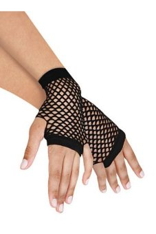Velishy Women Gloves Lace Fishnet Fingerless Black