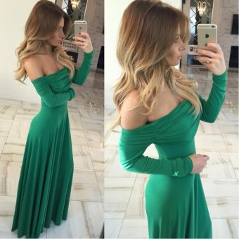 VENFLON Women Elegant Off Shoulder Evening Party Maxi Dress Pleated Formal Long Dress (green) - intl