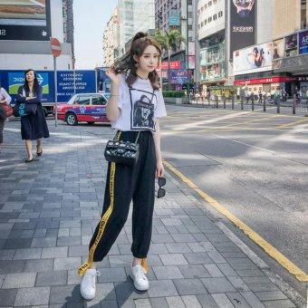VENFLON Women Korean Sport Street Applique Letter Print Patch Elastic Long Pant jogger sweatpants (Black) - 4