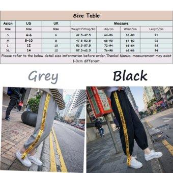 VENFLON Women Korean Sport Street Applique Letter Print Patch Elastic Long Pant jogger sweatpants (Black) - 2