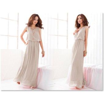 VENFLON Women Summer Chiffon Boho Pleated Beach Maxi Dress Sleeveless Elastic Bohemia Long Dress (Light grey) - intl - 4