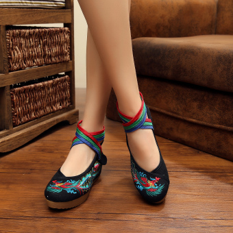 Veowalk Bird Embroidered Women's Casual Platform Shoes Cotton CrossStrap Vintage 5cm Mid Heels Ladies Canvas Wedges Pumps Black - intl - 2