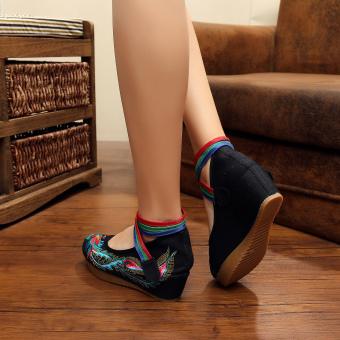 Veowalk Bird Embroidered Women's Casual Platform Shoes Cotton CrossStrap Vintage 5cm Mid Heels Ladies Canvas Wedges Pumps Black - intl - 3