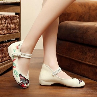Veowalk Butterfly Embroidered Women Canvas Ballet Flats Cotton MaryJanes Shoes Beige - intl