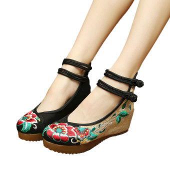 Veowalk Floral Embroidery Women's Casual Platform Shoes CottonBuckles Chinese Old Beijing Style 5cm Mid Heels Ladies CanvasWedges Pumps Black - intl - intl