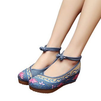 Veowalk Flower Embroidered Women's Casual Platform Shoes Cotton Ankle Buckles 5cm Mid Heels Ladies Canvas Wedges Pumps Blue - intl