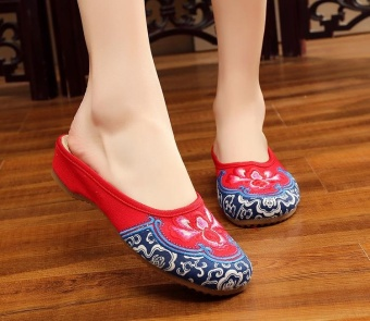 Veowalk Summer Women Embroidered Canvas Slides Slippers Comfort OldBeijing Flat Shoes Red - intl