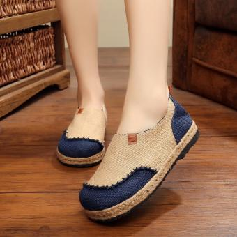 Veowalk Thailand Style Women Casual Linen Cotton Flat PlatformsSolid Color Slip on Walking Loafers Shoes for Ladies Beige - intl