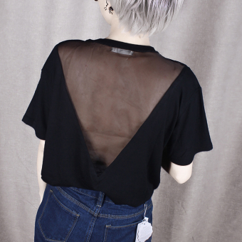 Versatile backless Slim fit slimming solid color short sleeved t-shirt