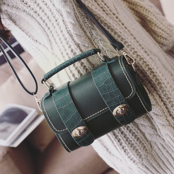 Versatile bag New style spring shoulder bag bucket bag (Dark green color)
