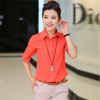 Versatile chiffon white slimming Top professional shirt (Watermelon Hong long-sleeved) Price Philippines