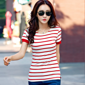 Versatile cotton female New style Striped short sleeved t-shirt (Red) (Red)