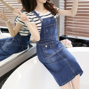 Versatile cowboy female New style cowboy Dungaree dress strap dress (Dark blue color)