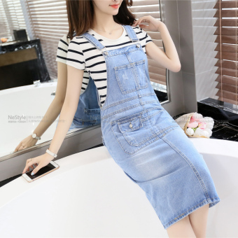 Versatile cowboy female New style cowboy Dungaree dress strap dress (Light blue)