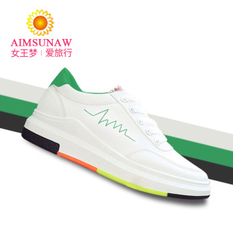 Versatile female autumn New style sports shoes white shoes (Women's + Green white)