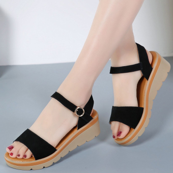 Versatile female flat heel flat leather women's shoes semi-high heeled sandals (Black)