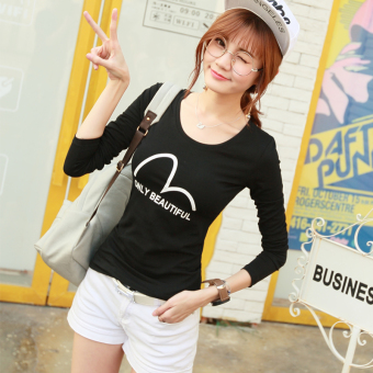 Versatile female Slim fit lettered Top New style long-sleeved t-shirt (Black) (Black)