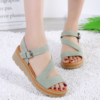 Versatile leather pregnant women's flat sandals Korean-style women's shoes (Green)